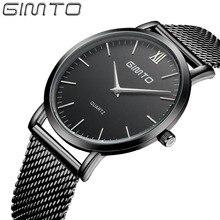 Gimto manera y ocasional relojes para hombre de primeras marcas de lujo relojes de cuarzo reloj de diseño simple delgado mano reloj montre homme reloj