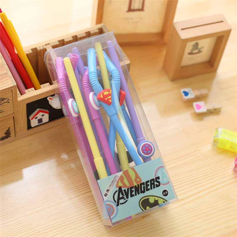 Dl Korean Creative Cartoon Stationery Hero Alliance Styling Neutral Pen Students Black Signature Office Supplies In Gel Pens From