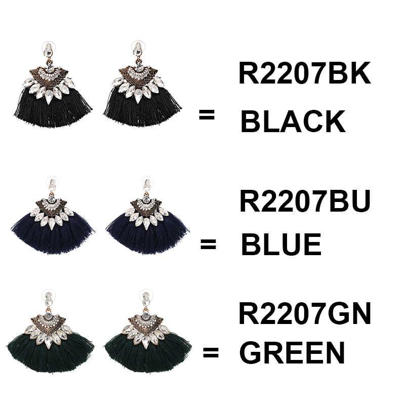 Bohemia wiszące kolczyki damskie akcesoria w kształcie wachlarza bawełna ręcznie frędzle kolczyki z frędzlami biżuteria etniczna
