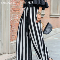 Cakucool Summer Casual Wide Leg Pants Women High Waist Black And White Striped Slim Trousers Formal