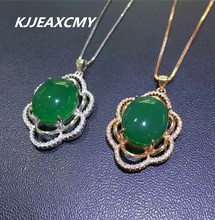 цена KJJEAXCMY boutique jewelry, Natural green chalcedony pendant inlaid jewelry wholesale female S925 Sterling Silver онлайн в 2017 году