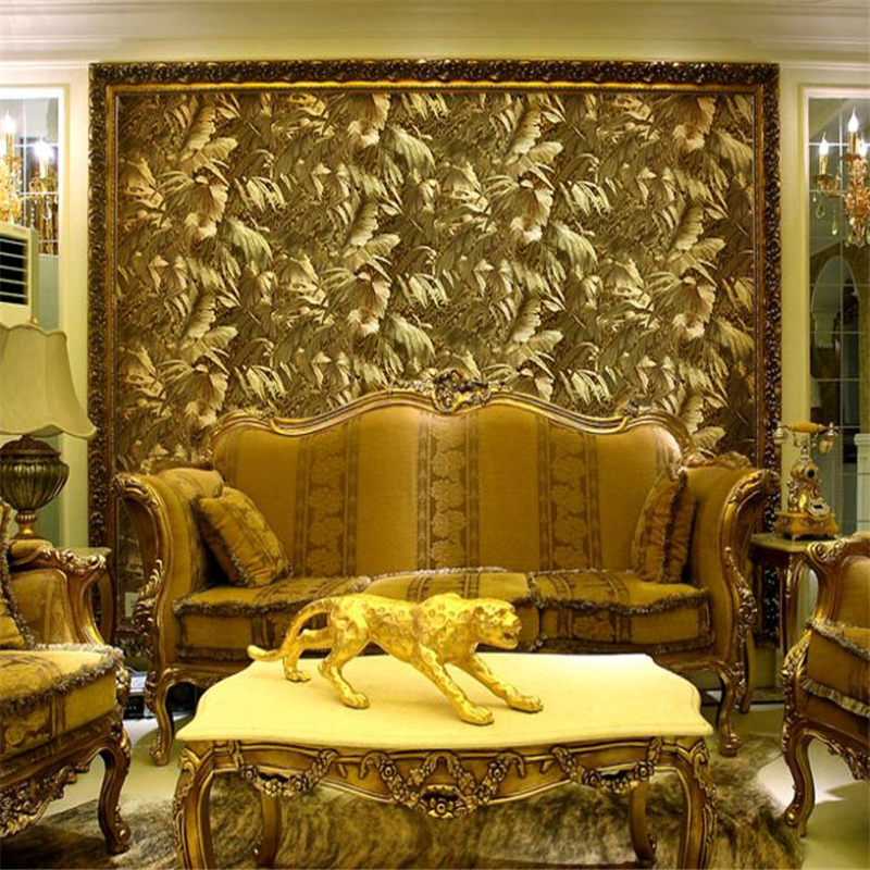 beibehang Reflective luxury photo gold foil wallpaper gold