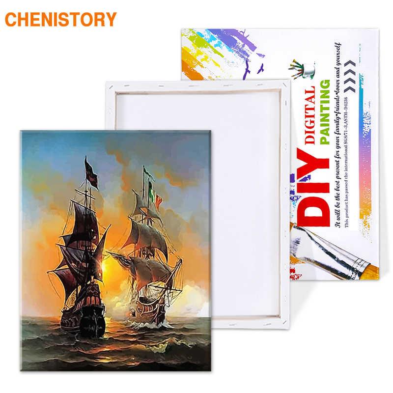 Chenistory морской пейзаж парусная яхта Европа искусство холст живопись DIY живопись по номерам картина маслом на холсте домашний декор 40*50 см