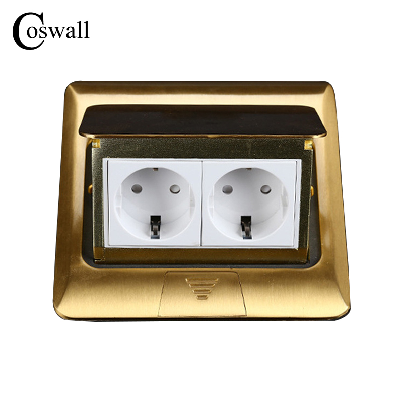 Manufacturer All Copper Panel EU Standard Pop Up Floor Socket 2 Way Electrical Outlet Modular Combination Customized Available manufacturer all aluminum panel pop up floor socket eu standard electrical dual outlet with 2 usb charging port for mobile