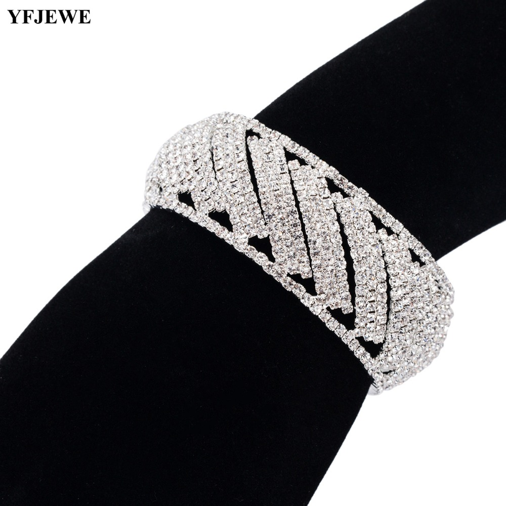 YFJEWE Bangles Link-Bracelets Chain Wedding-Jewelry Crystal Birthday-Gifts Silver-Color