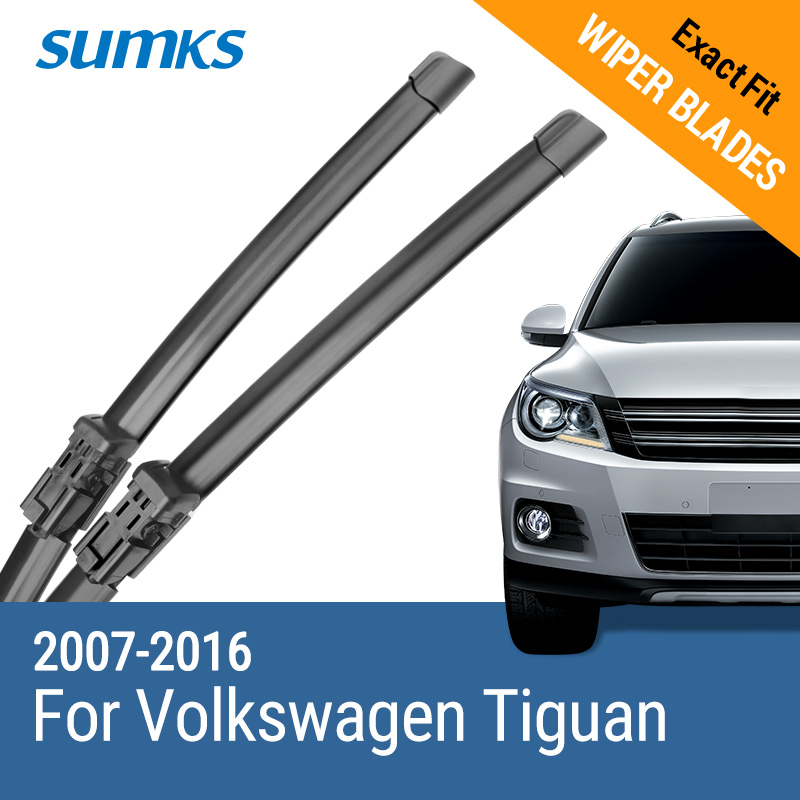 SUMKS Windscreen Wiper Blades for Volkswagen VW Tiguan Mk1 / Mk2 Fit Push Button Arms Model Year from 2007 to 2018-in Windscreen Wipers from Automobiles & Motorcycles