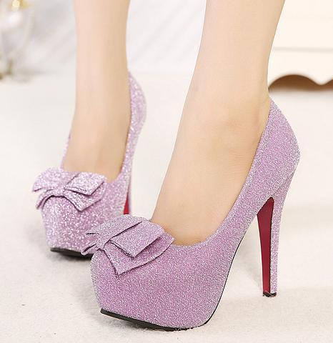 sweet bowtie lavender heels glitter silver heels wedding shoes ...