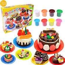 Children DIY Nontoxic Fimo Playdough Simulation Birthday Cake Model Clay Kit Mold Set Kids Pretend Play Intelligence Toys Tools diy simulation fruit cake birthday toys set 54pcs