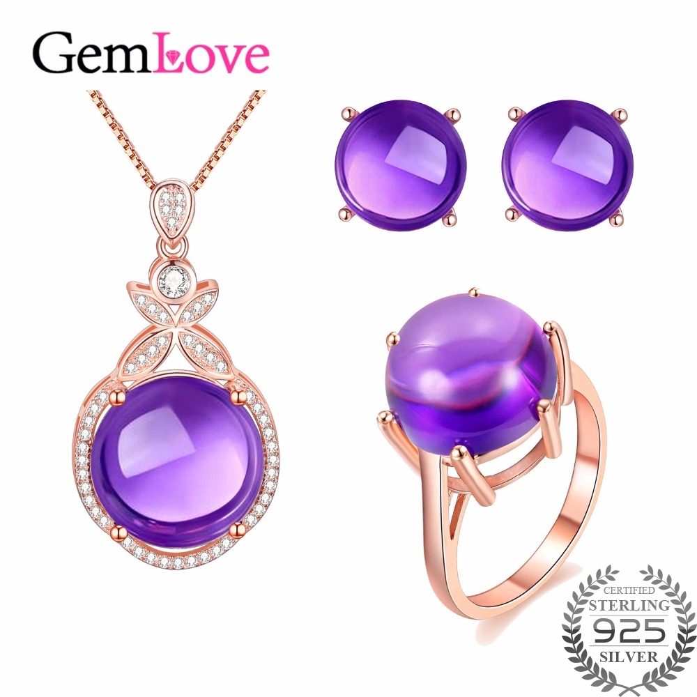 Gemlove Amethyst Jewelry Set 925 Sterling Silver Earrings Ring Necklace Set  Gemstone Rose Gold Plated Jewelery Costume Ct005