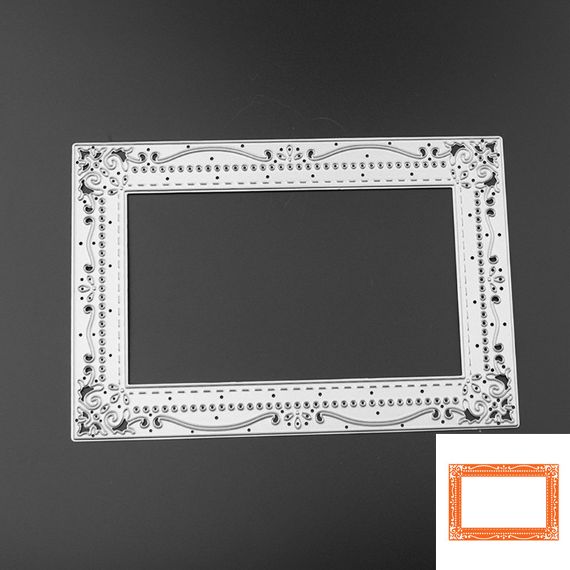 Flor Retângulo Quadro Design De Corte De Metal Morre para DIY Scrapbooking Álbum de fotos Decorativo Embossing Cartões de Papel Artesanato