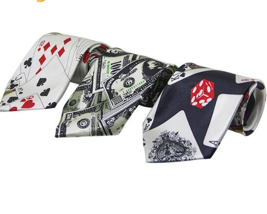1pcs Fashion Unique Greenback Pattern Ties with Poker Patterns Necktie Polyester Gravatas Free Shipping in Men 39 s Ties amp Handkerchiefs from Apparel Accessories