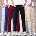Новая Коллекция Весна Лето брюки Мода Марка Повседневная Хлопок Брюки Slim Fit Прямой Ногой Брюки Мужчины Высокого Качества хлопка брюки