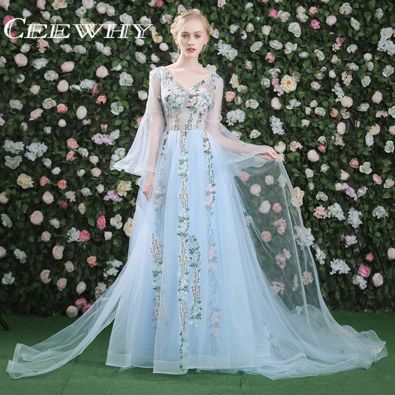 Ceewhy Evening Dress Long Sleeves Ruffles Appliques Mother Of The