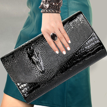 цены Women Clutch Bags Vintage Split Leather Crocodile Pattern Envelope Shoulder Bag Ladies Messenger Handbag Female Gift  Hand bag