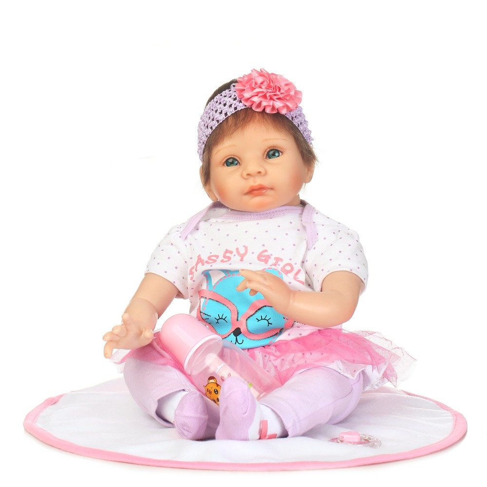 55CM soft Silicone reborn baby doll toys for girl, lifelike reborn babies play house toy birthday gift girl brinquedos dollmai