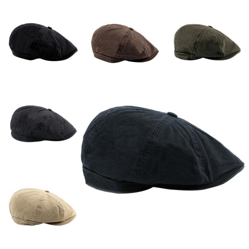 Octagonal Golf Cap Women Men Cotton Harden Brim British Style Adjustable Hat Head Wear Sportswear Riding Running Fishing Pro