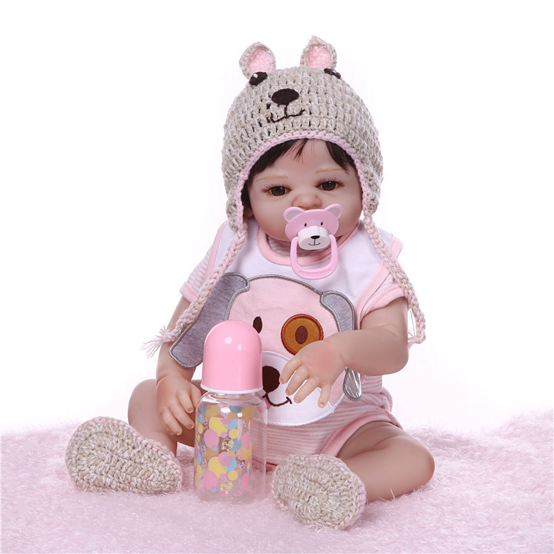 NPK 19 ''アライブ生まれ変わっ人形 Boneca フルシリコーンビニール新生児人形リアルなリボーンドールピンク服子供遊び  グループ上の おもちゃ & ホビー からの 人形 の中 2