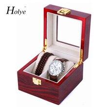 Nueva llegada del envío gratis 2 Grids Watch caja de presentación rojos de laca de madera de cajas de reloj reloj de moda de almacenamiento cajas de regalo