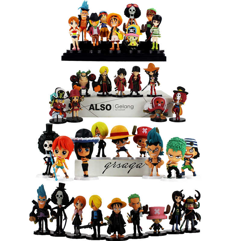 9 pçs/lote Anime One Piece Figure Set Luffy Zoro Sanji Nami Robin Chopper Usopp Brook Franky Modelo Brinquedos Piratas