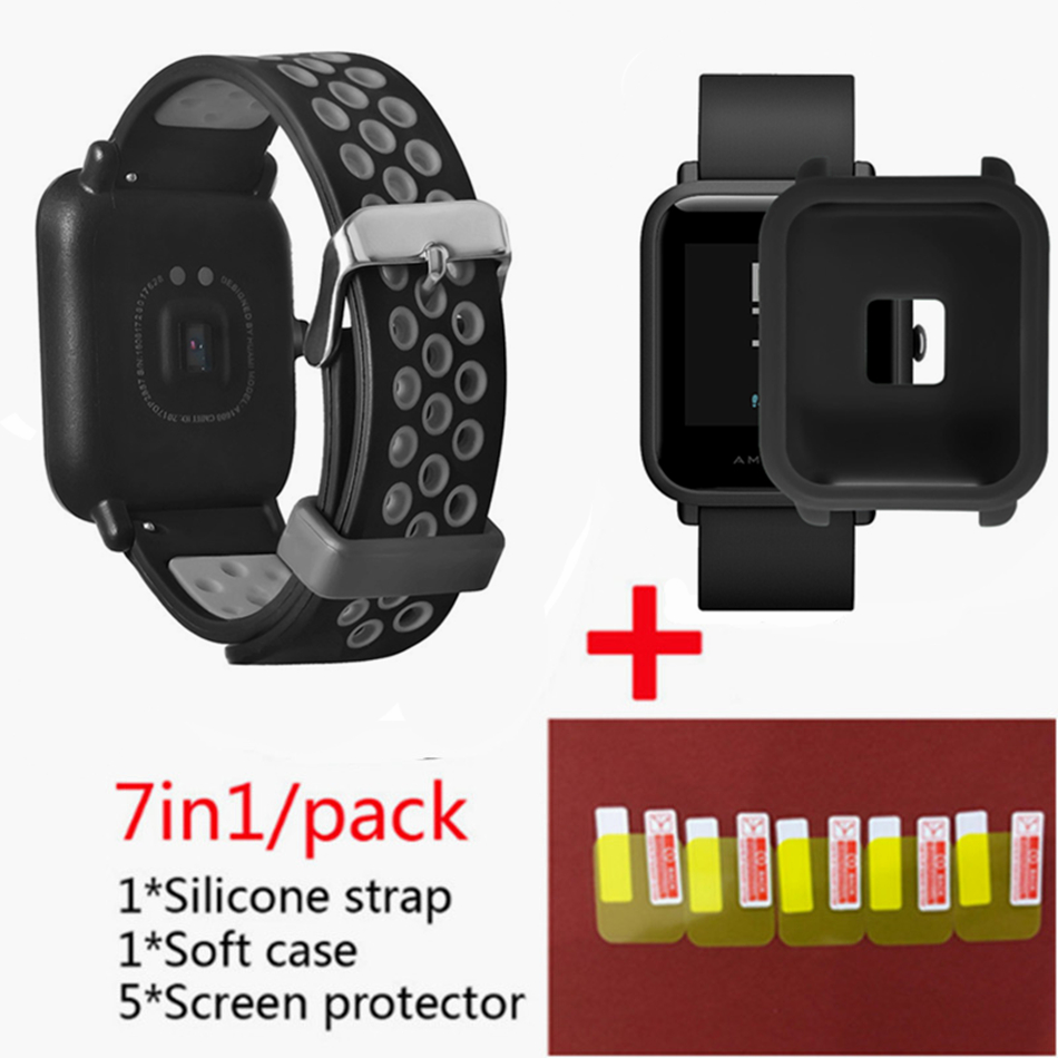 for Xiaomi Huami <font><b>Amazfit</b></font> Bip Lightwei strap rhythm Lite young smart watch my braceket <font><b>fit</b></font>+Silicone bands+soft case+5 screen film image