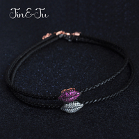 Jin Ju Jewelry 925 Sterling Silver Women Girl Jewelry 2017 Wholesale Kiss Mouth Two Color Leather
