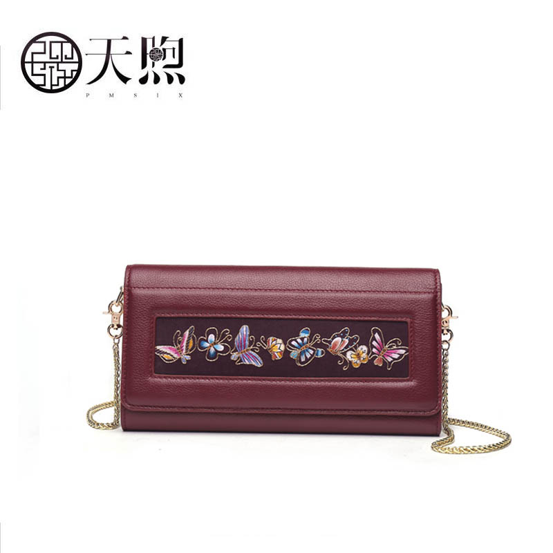 PMSIX 2018 New women genuine Leather bag fashion handbags women famous brands embroidery clutch bag women leather shoulder bag 2018 new original genuine leather women handbags shoulder portable embroidery bag ethnic style embroidery big dumplings bags