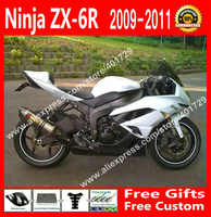 Free custom Fairings for 2009 2010 2011 2012 Kawasaki ZX6R OEM white black bodywork fairing kits VJ84