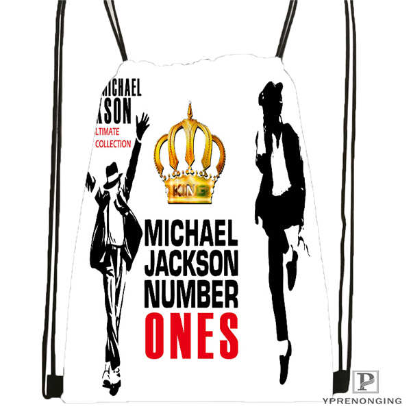 Custom Michael Jackson Drawstring Backpack Bag Cute Daypack Kids Satchel (Black Back) 31x40cm#20180611-02-64
