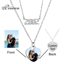Custom Name Photo Necklace Stainless Steel Chain Heart Pendant Layered Necklaces Choker Year Number 1980-2019 Birthday Gift