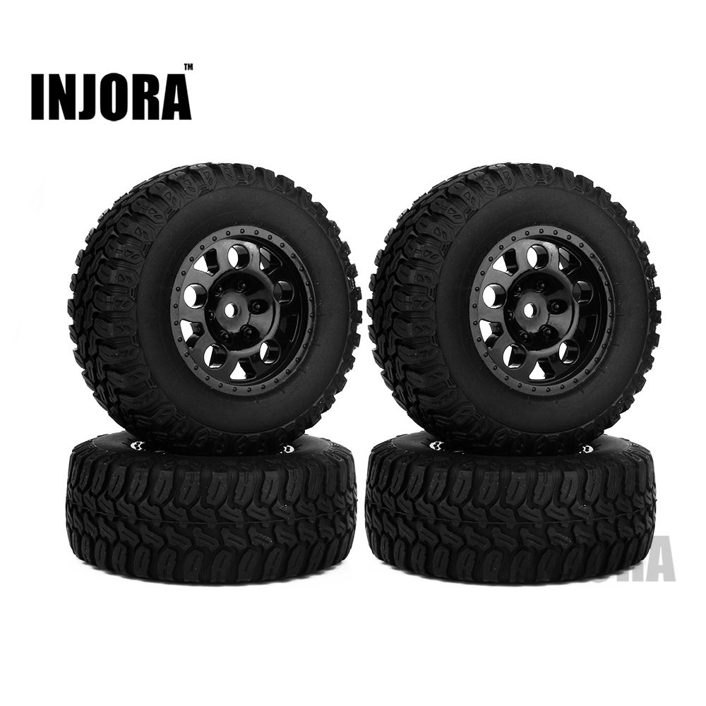 INJORA 4PCS Short-Course Truck Rubber Tire & Wheel Rim Set for 1/10 Traxxas Slash VKAR 10SC RC Car Parts injora 4pcs short course truck rubber tire