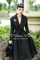 Le Palais elegante Do Vintage retro 100% cintura tipo saia de lã Lapela casaco de lã