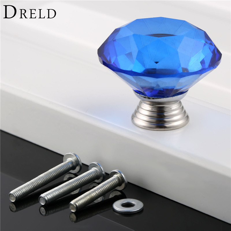 DRELD 1Pcs 40mm Blue Diamond  Crystal Glass Door Pull Drawer Kitchen Furniture Handle Knobs and Pulls for Cabinets+ 3Pcs Screws коньки onlitop 223f 37 40 blue 806164