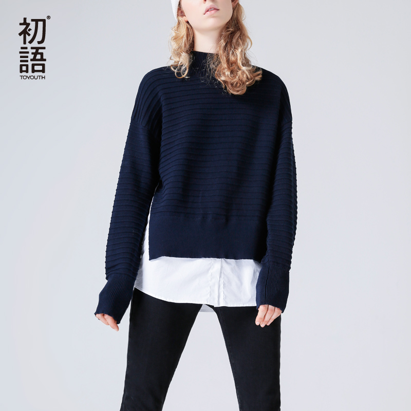Toyouth Women Casual V-Neck Long Sleeve Thin Patchwork Loose Fit Sweater 2019 Spring New Feminino Pullovers Knitting Sweater