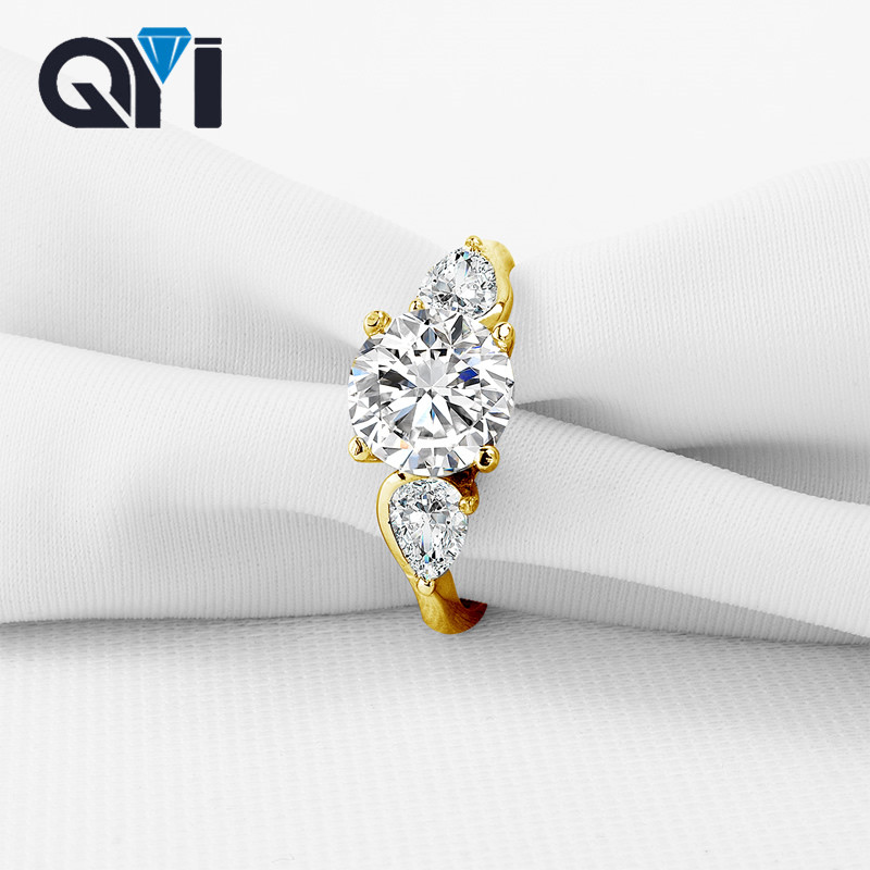 QYI Three Stone For Women Prong Set Round Cut 2 ct Sona Simulated Diamond Rings Engagement Wedding 10K Solid Yellow Gold Rings