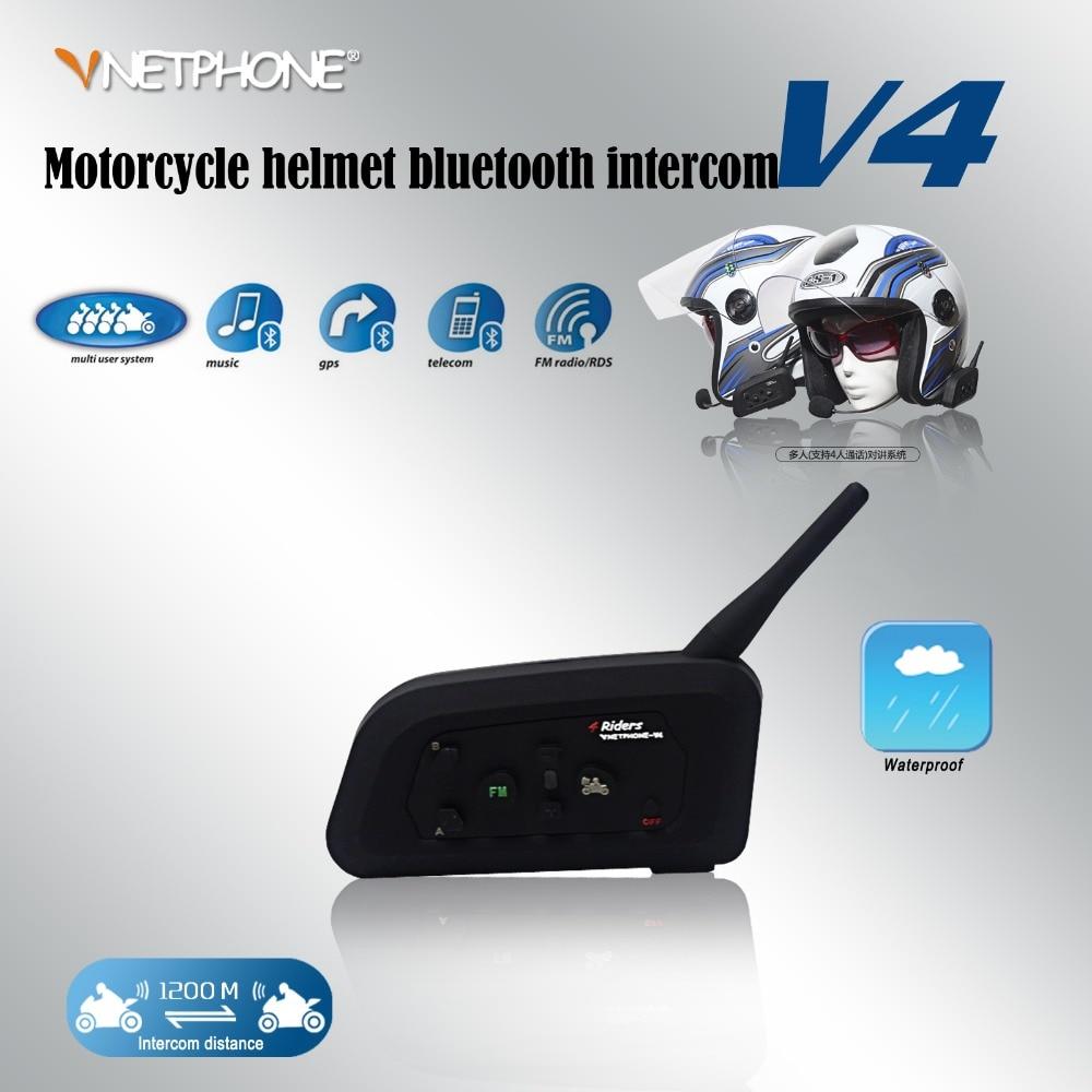 V4 Free Shipping 1200M BT Bluetooth Interphone Motorcycle Helmet Intercom Headset 4 Riders 1PCS/Package wireless bt motorcycle motorbike helmet intercom headset interphone