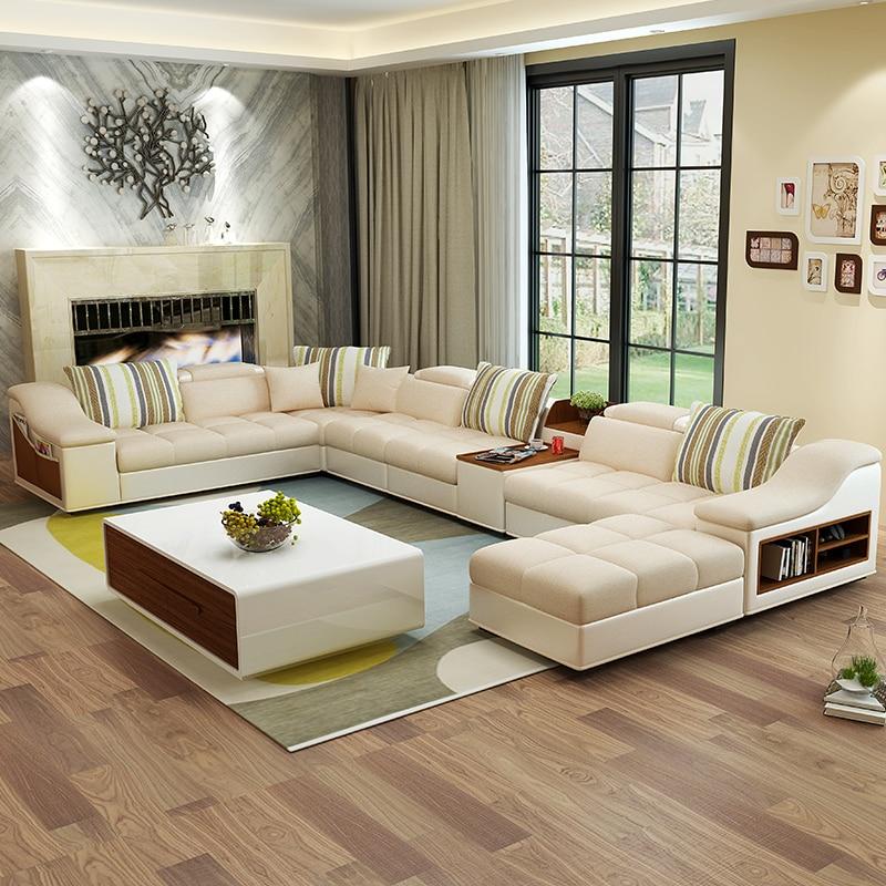 Meubles De Salon Moderne En Forme De U En Cuir Tissu Coin Sofa