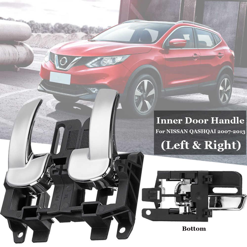 1 Pair Front/Rear Left+Right Interior Inner Door Handle For NISSAN QASHQAI 07-13 Plastic Black 12*7*4.8cm