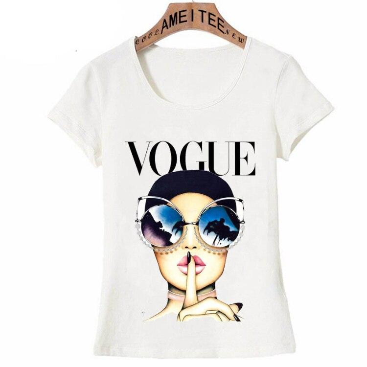 Vintage Vogue Paris Black printing Girl Shirt Summer Fashion T Shirt novelty casual Tops 31