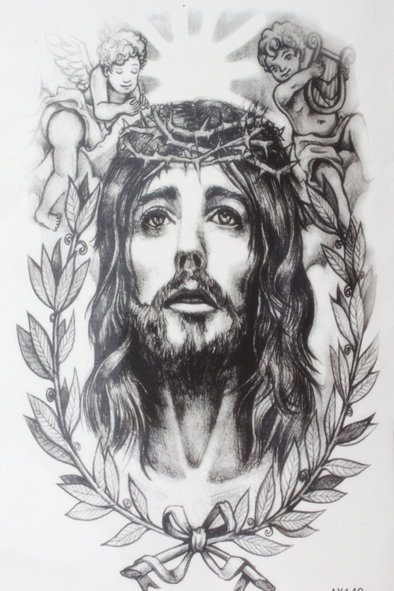 The One Man Lord Savior Jesus With Two Baby Size 22 X 12cm Brand New Body Art Tatoo Temporary Tattoo Exotic Sexy Tattoo Sementara Tato Aliexpress