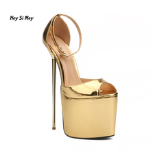 22cm heavy-bottomed large size steel heel thin strap stiletto sandals -8.5-20