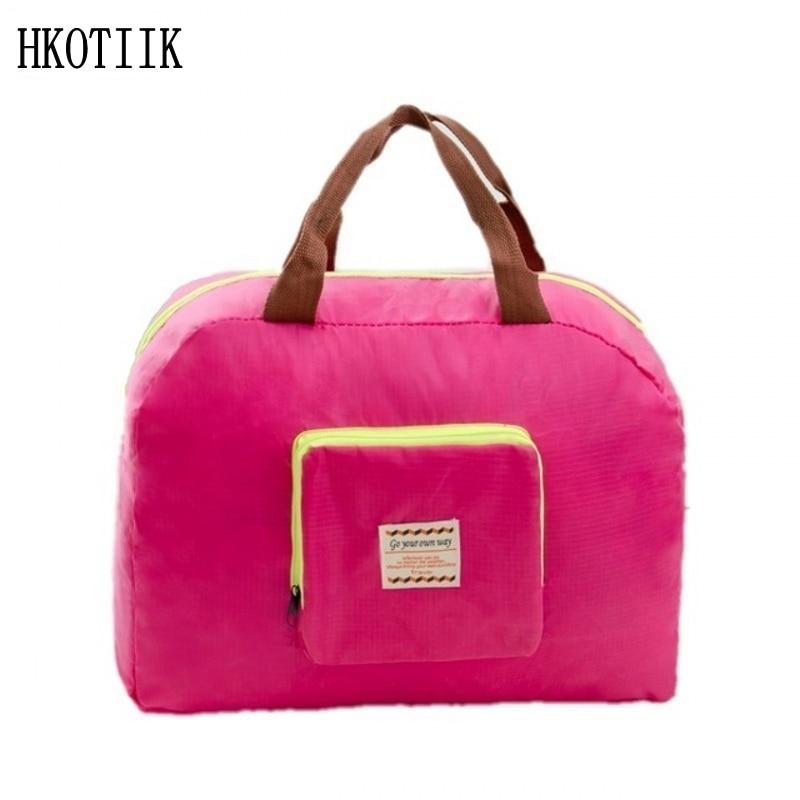 Fashion brand ladies travel bag student nylon weekend folding handbag luggage bag