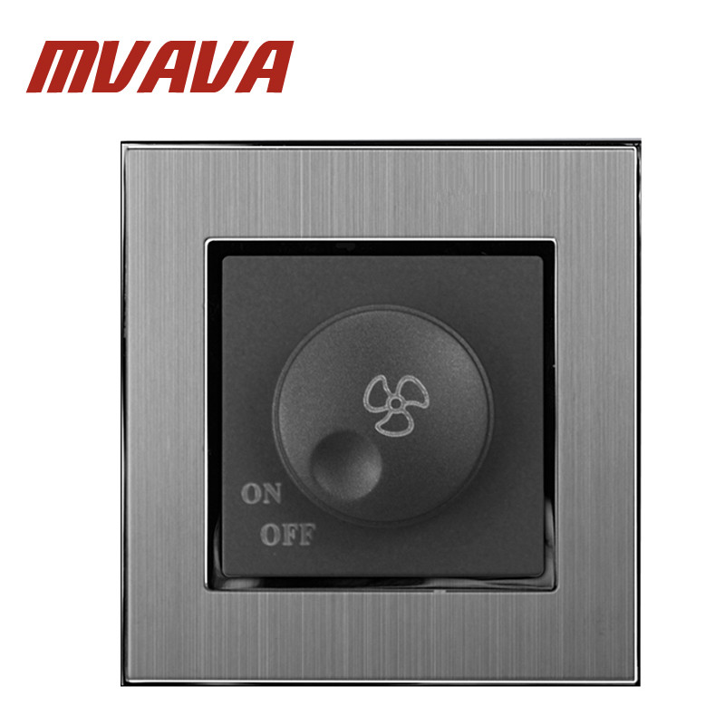 MVAVA Fan Regulation Switch Luxury 110-250V Brushed Metal UK EU Type Rotary Ceiling Fan Speed Regulation Control Wall Switch 2016year very hot sale rotary switch for pedestal fan 3 position rotary switch fan speed controller switch high quality switch