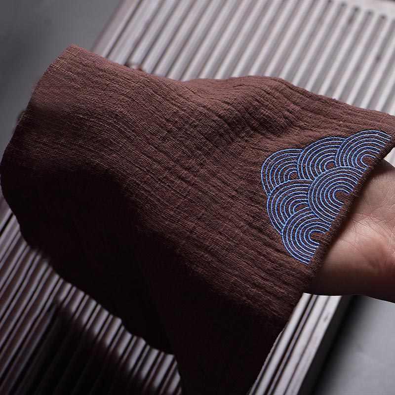 2 unids/lote Vintage bordado nubes patrón té servilleta grueso algodón cáñamo tela para la ceremonia del té accesorios hogar toallas duraderas