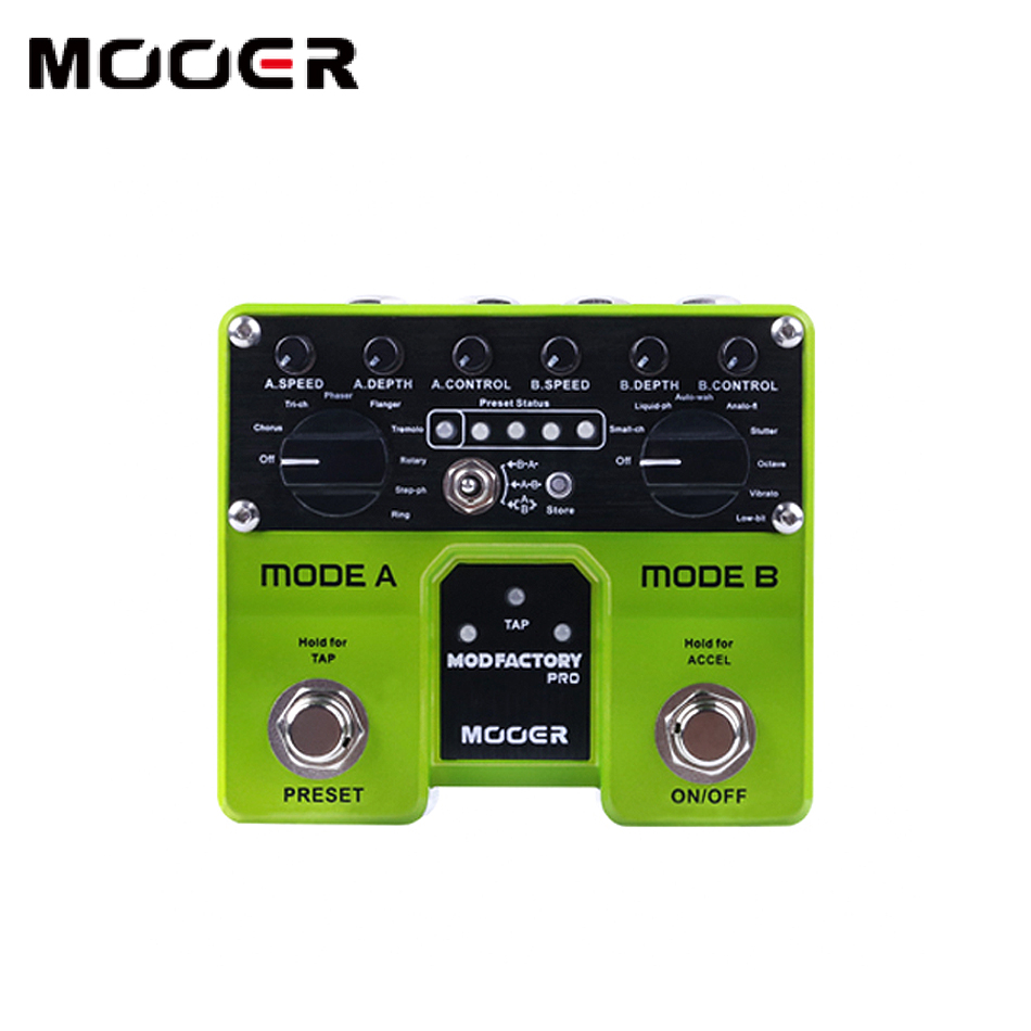 Mooer Mod Factory Pro 2 Independent processing modules containing a total of 16 modulation effects guitar pedal mooer mod factory modulation guitar effects pedal true bypass with free connector and footswitch topper