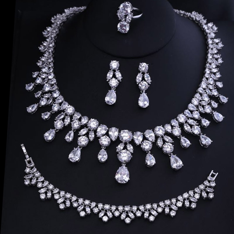 New Arrival Trendy 2 Color Flower Shape Cubic Zircon Necklace/ Earrings/ Bracelet/ Ring Set For Women Wedding trendy faux pearl flower rhinestone shape cuff ring for women