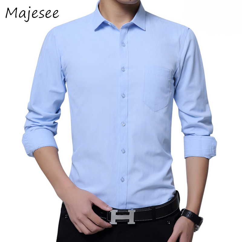 Trendy Men Business Long-sleeved Shirt Mens Dress Shirts Solid Color Male Soft Single Breasted Slim Breathable New Fashion Style ...