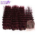 99J Red Brazilian Hair Weave Bundles With Closure 7A Brazilian Deep Wave With Clsure 3 Bundles Human Hair Weave With Closure