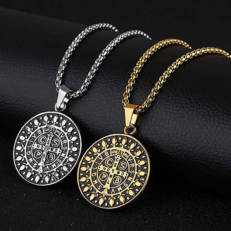 Catholic Father Saint Benedict Necklaces For Men Women Religious San Benito Pendant Stainless Steel Jewelry CSPB CSSML NDSMD