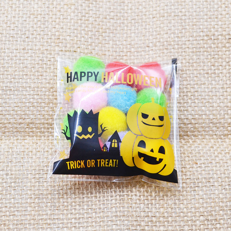 50/100P Small Cute Halloween Candy Cookie Bag Pumpkin Bat Printed Self Adhesive Plastic Bags For Halloween Party Pouch Supplies