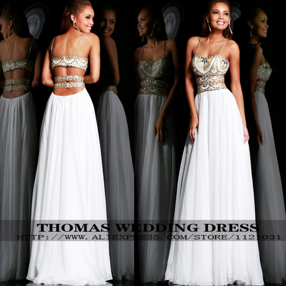 Free Shipping Indian White Custom Made Sexy Beaded Prom Dresses With